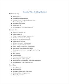 Wedding Shot List Template  Essential Elements To Be Involved In