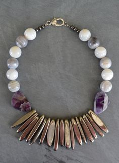 Chunky Gemstone Necklace Botswana Agate Amethyst Titanium Plated Agate Sticks OOAK Statement Necklace Debbie Renee Beaded Strand Gemstone by TheBeadBandit on Etsy