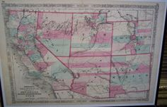 "Johnson's California Territories of New Mexico Arizona Colorado Nevada and Utah, Colorado Gold Mines"" Above Yuma, Arizona; Las Vegas in Arizona, JOHNSON AND WARD, A.J. JOHNSON (Published: JOHNSON AND WARD 1863 New York)"