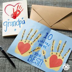 This card was designed for Grandparents Day, however it would also make a sweet valentine greeting! This card was designed for Grandparents Day, however it would also make a sweet valentine greeting! Baby Crafts, Toddler Crafts, Preschool Crafts, Baby Handprint Crafts, Grandparents Day Crafts, Grandparent Gifts, National Grandparents Day, Grandma Crafts, Papa Tag