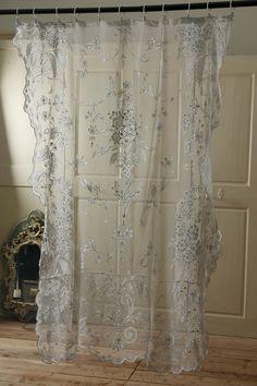 アンティーク フレンチレースカーテン(お花畑) French Vintage Lace Curtain