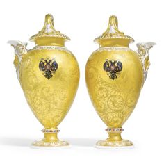 A rare pair of porcelain ewers, Imperial Porcelain Manufactory, period of Alexander II (1855-1881) - Sotheby's