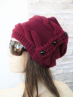 Women  Knit  Hat ,  Slouchy  Hat ,  Winter Hat , Gift for her  Burgundy  Hat Winter Accessories Winter  Fashion Women Fashion Accessories by Ebruk on Etsy https://www.etsy.com/ca/listing/162364387/women-knit-hat-slouchy-hat-winter-hat