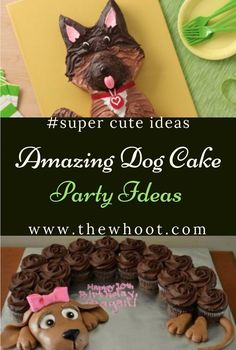 You'll Love This Amazing Collection Of Dog Cake Party Ideas Puppy Cupcakes, Puppy Cake, Cute Cupcakes, Fondant Flower Cake, Cupcake Cakes, Fondant Bow, Cupcake Ideas, Fondant Cakes, Cheer Cakes