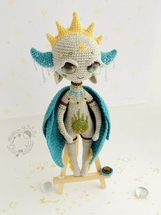 """The One Who Awakens Spring from the """"Cosmic Deity"""" series. This goddess symbolizes early spring: blue sky, gentle sun, melting snow, spring thaw and the first sprouts. Crochet Fairy, Crochet Dragon, Cute Crochet, Crochet Toys Patterns, Stuffed Toys Patterns, Doll Patterns, Aliens, Crazy Toys, Crochet Monsters"""