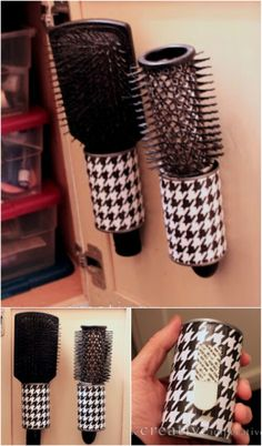 The Creative Imperative: Hanging Hairbrush Storage from Tin Cans. I told you I love those tin cans. You will never look at a tin can the same once you get to know me. Tin Can Crafts, Diy And Crafts, Organizing Hacks, Organizing Solutions, Craft Storage Solutions, Waste Solutions, Organising, Ideas Para Organizar, Upcycled Crafts