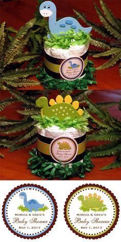 Baby Dino Dinosaur Diaper Cake Centerpieces