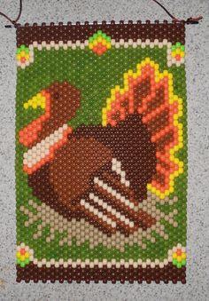 Handmade Thanksgiving Turkey Beaded Banner with Nylon by wosiec1