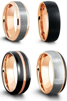 Rose gold tungsten wedding ring. My Fiancée would love one of these unique wedding rings. 18k rose gold with modern look.