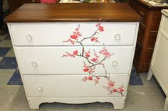 cherry blossom stencil dresser with stained top