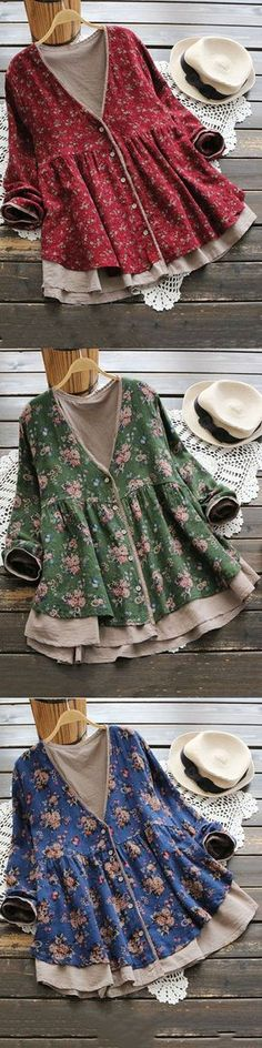 Fashion Tips For Women What To Wear Vintage Women Floral Printed V-Neck Fake Two-Piece Shirt Mode Vintage, Vintage Ladies, Style Vintage, Pretty Outfits, Beautiful Outfits, Pretty Clothes, Boho Fashion, Fashion Outfits, Womens Fashion