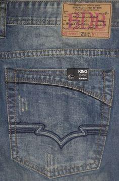 Buffalo King Slim Fit Boot Cut Men's Blue Grey Jeans Sz 31 32 33 34 36 38