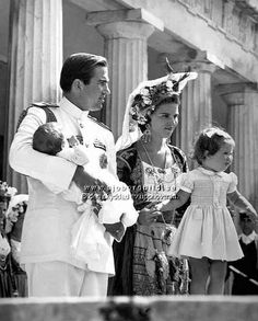 forum-alexanderpalace:  King Constantine II holding baby Crown Prince Pavlos & Queen Anne-Marie (in traditional dress) with Princess Alexia, 1967