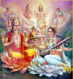 The Presiding Deities : Shri Brahma Dev & Mother Saraswati Saraswati Goddess, Kali Goddess, Indian Goddess, Saraswati Mata, Mother Goddess, Durga Puja, Ganesha Art, Krishna Art, Krishna Leela