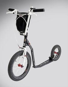 """KOSTKA REBEL -- A folding kick bike weighing in at 5.8kg. 16"""" front wheel."""