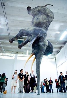 I forget the sculptors' name, but I love this completely! I had Sculpture I last semester & made an elephant installation & this piece inspired me a lot.