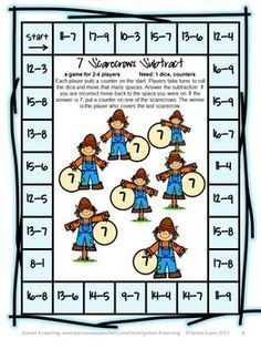 Fall Math Board Game - from Fall Math Games, Puzzles and Brain Teasers $