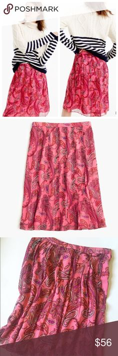 """TODAY'S SALE! J.Crew Double Pleated Skirt NWT gorgeous J.Crew double pleated skirt in Vivid Paisley! Features one of the brands favorite design details: double pleats! Crafted in a vivid pink paisley printed silk,this stunning skirt measures 22"""" long,sits at waist,is fully lined,and has a back zip. Size 4 and fits true to size. Photo cred jcrew.com❤️ J. Crew Skirts"""