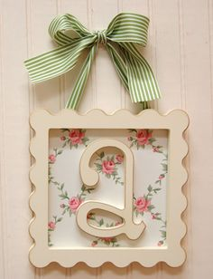 The Framed Wooden Letters / like the lettering for other things. Framed Wooden Letters, Letter Wall, Framed Monogram, Initial Wall, Framed Wall, Wooden Frames, Decoupage, Craft Projects, Projects To Try