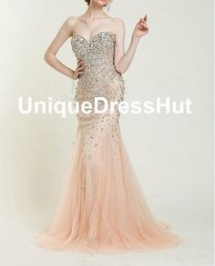 2014 new arrival champagne new years eve dress, Mermaid trumpet style long Prom Dresses, evening gowns with beads and crystals Fast Shipping on Etsy, $299.00