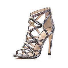 Pink snake print caged heels £65 #riverisland