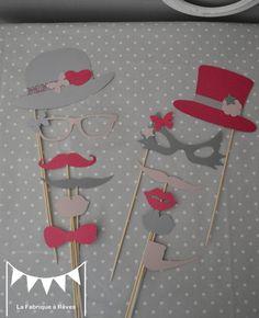 DISPO - Lot 12 pièces photobooth rose poudré gris et rose fuchsia mariage moustache bouche lunettes pipe - anniversaire : Autres papeterie par la-fabrique-a-reves