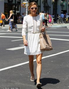 Practicing for the big day? Olivia Palermo wore a pretty lace white dress as she stepped out in NYC on Wednesday