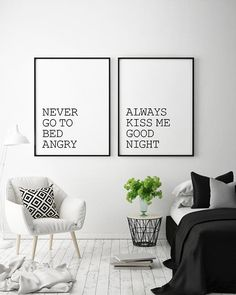 Never Go To Bed Angry Print, Always Kiss Me Goodnight, Bedroom Print Set, Above Bed Wall Decor, Printable, Scandinavian Modern