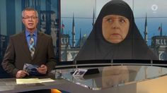 channel shows mocked up image of Angela Merkel in a headscarf