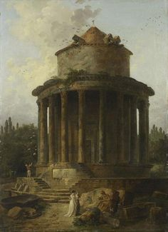 Hubert ROBERT Paris, 1733 - Paris, 1808  Un temple circulaire jadis dédié à Vénus  1788  H. : 0,98 m. ; L. : 1,07 m.  Salon de 1789.