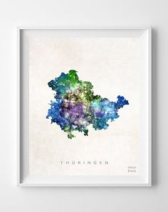 Thuringen Map Germany Print Thuringia Watercolor by InkistPrints