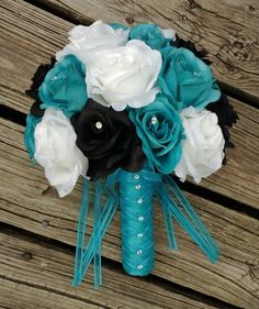 Malibu Blue Black White Rose Wedding Bouquet, Malibu Blue Bouquet, Black Turquoise Bouquet, Blue Black Bouquet, Malibu Blue Wedding by SilkFlowersByJean on Etsy White Roses Wedding, Aqua Wedding, Rose Wedding Bouquet, White Wedding Bouquets, Bride Bouquets, Wedding Colors, Rose Bouquet, Trendy Wedding, Dream Wedding