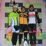 Ciolek on the podium with Sagan (2nd) and Cancellara (3rd)