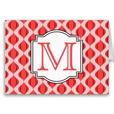 Modern Ogee Style Pattern Monogram - Coral Pink Cards