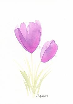 "❋ Aquarelle - Watercolor - Aquarela ❋  // #watercolor ""Crocus"" by karenfaulknerart // #watercolor"