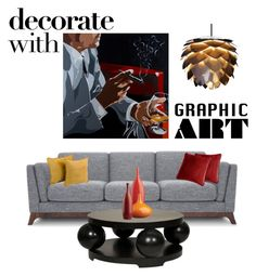 """""""Graphic art"""" by ruza-b-s ❤ liked on Polyvore featuring interior, interiors, interior design, home, home decor, interior decorating, The Artwork Factory, Ellery Homestyles, Blazing Needles and CB2"""
