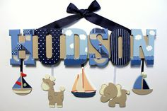 Nautical Baby Name Sign Hand Painted Navy by SaraWintersDesigns, $62.00
