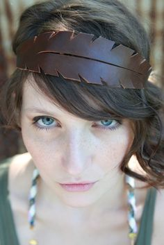 Feather Leather Headband in Brown by thiefandbandit on Etsy. $26.00 USD, via Etsy.