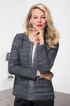 Le cardigan zippé en pure laine Cashwool ® fabriqué en France. Travail de maille. Catalogue Bernard-Solfin AH14.