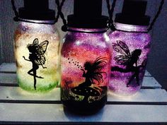 If you should catch a fairy And place it in a jar, Be sure to treat in kindly And do not take it far - This fairy is not for the keeping It has a home you see The forest is a wonderful place And fairies must live free. -Dawn Edmonson  *These elegant Fairies CAN come home with you! We have captured just their shadows, perched on a branch, a toadstool, and dancing in the magical forest. *Enhanced with glitter (fairy dust!), these hand painted creations magically glow every night with solar…