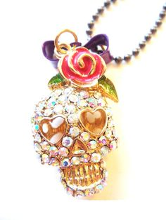 Big Colorful Crystal Skull with Rose Necklace: Jewelry: Amazon.com