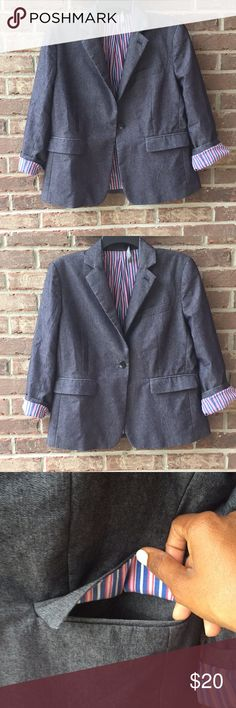 """✨Liz Claiborne 3/4 Sleeve Blazer Pre-loved Liz Claiborne Blazer with 3/4 sleeves in a size 8. There is a small stain inside as well as a name written inside (neither visible when worn). The """"Liz Claiborne"""" tag is also hanging.  23"""" long Sleeves are 20.75"""" uncuffed  Please keep in mind that Poshmark does not support returns for sizing issues. This is their policy, not mine. So please be sure to ask any questions you may have. I am happy to measure an item any way I can for you. Happy…"""