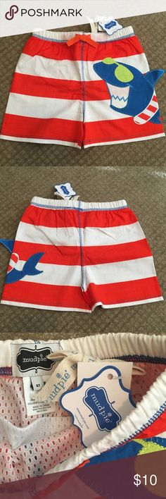 4T Mudpie Boys Shark Swimshorts New with tags, Mudpie Shark Swim Shorts Mudpie Swim Swim Trunks