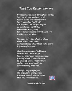 That You Remember Me: A Downloadable Poem About Alzheimer's Disease : Daniel Mark Picture Poems