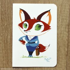 Fox business woman greeting card by #TerrapinAndToad. A fun, brightly coloured cartoon fox greeting card. Perfect to congratulate your friend on their new job or wish someone luck for an interview.