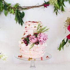 Wedding cake alternative - print tiered pavlova dessert yum! Pomegranate and peonies set it off to perfection.