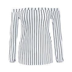 Mulheres+Camiseta+Casual+Simples+/+Moda+de+Rua+Primavera+/+Outono,Listrado+Branco+Poliéster+Decote+Canoa+Manga+Longa+Média+–+BRL+R$+91,29