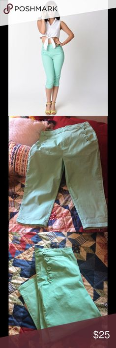 Retro Peddle Pushers This is a listing for a used pair of Voodoo Vixen mint colored capri or peddle pusher pants. These are in great condition. They do run small. The waist is 30.25 inches. There is stretch. These are perfect for the summer! Voodoo Vixen Pants Capris