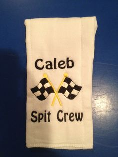 Personalized baby burp cloth with race flags. Great for the NASCAR fan. on Etsy, $10.00