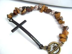 This is an amazing #Christianbracelet with brown gemstone beads by AllAboutJesusDesigns, $14.95